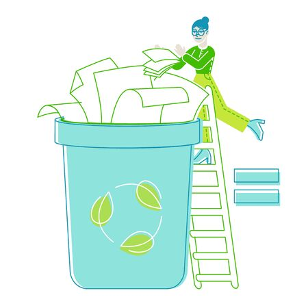Female Character Throw Paper Trash into Litter Bin Container with Recycling Sign. Ecology Protection, Earth Pollution Problem. Woman Eco Activist, Waste Reuse Solution. Linear Vector Illustration