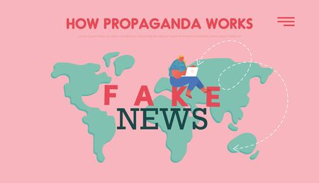 People Characters Read Fake News Concept for Landing Page Template. Girl with Laptop Sit on World Map Background