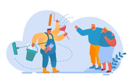 Handyman Worker Character with Many Hands Holding Household Tools Bucket, Plunger. Woman and Man Satisfied with Work Service. Master Help with Broken Technics. Cartoon People Vector Illustration