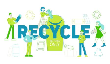 Battery Recycle Concept. People Characters Put Batteries Trash to Container, Disposal of Garbage, Clean Environment, Ecology Environmental Conservation Poster Banner Flyer. Linear Vector Illustration Vecteurs