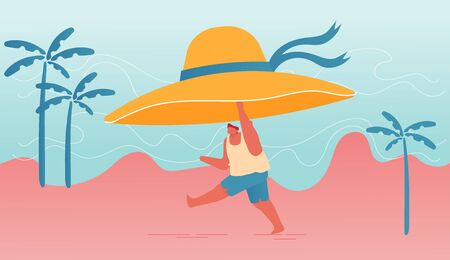 Summertime Nature Vacation, Holiday and Active Lifestyle. Young Happy Overweight Man Character Holding Huge Tropical Hat in Hands Run along Summer Sandy Beach, Open Mind. Cartoon Vector Illustration  イラスト・ベクター素材