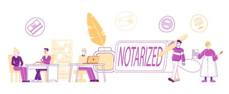 Notary Professional Service Concept. People Visiting Attorney Lawyer Public Office for Signing, Legalization Documents