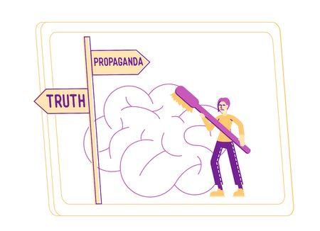 Brainwashing, Mass Media Propaganda and Manipulation Concept. Male Character Washing Huge Human Brain with Toothbrush on Television Screen. False Information, Fabrication. Linear Vector Illustration