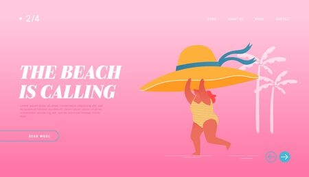 Summertime Vacation, Holiday and Active Lifestyle Landing Page Template. Young Happy Overweight Woman Character Hold Huge Tropical Hat in Hand Run along Summer Sandy Beach. Cartoon Vector Illustration  イラスト・ベクター素材
