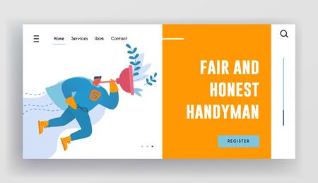 Husband for an Hour Landing Page Template. Handyman Character Wearing Super Hero Costume Holding Huge Plunger in Hand Flying in Sky to Help People with Household Duties. Cartoon Vector Illustration