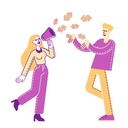 Female Character with Loudspeaker and Dollar Signs go out of Megaphone. Man Catch Dollars. Money Talks and Financial Announcement, Sales Promotion in Store, Discount. Linear People Vector Illustration