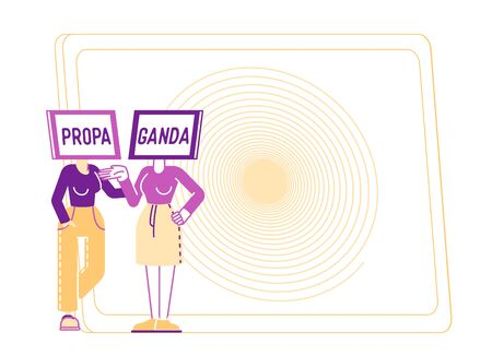 Female Characters with Tv Set Head with Propaganda Inscription on Screen Communicate front of Huge Hypnotic Spiral Background. Television Manipulating, Influence. Linear People Vector Illustration