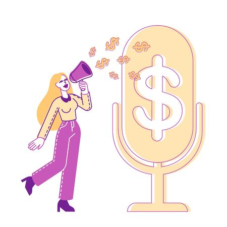 Female Character with Loudspeaker Stand at Huge Microphone with Dollar Signs go out of Megaphone. Money Talks and Financial Radio or Tv Program Broadcasting, Announcement. Linear Vector Illustration