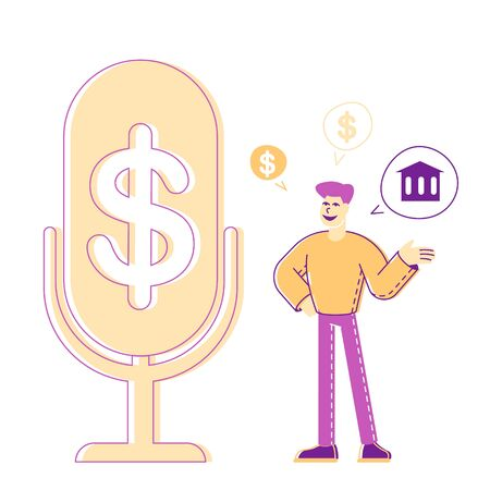 Money Talks and Financial Radio or Tv Program Broadcasting. Banker Financier Male Character Stand at Huge Microphone with Dollar Sign Talking about Banking System, Finance. Linear Vector Illustration Ilustração