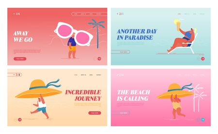 Happy People Relax on Exotic Seaside Resort Landing Page Template Set. Male and Female Tiny Characters with Tropical Hat, Sunglasses and Cocktail, Summer Time Vacation. Cartoon Vector Illustration