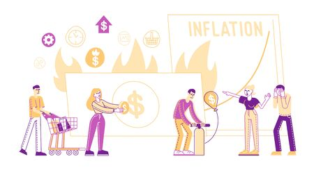 Inflation Concept. Tiny Male Female Characters Money Value Recession, Price Increase Process. Finance Market Risk Crisis in Percentage Rate. Unstable Nominal Worth. Linear People Vector Illustration