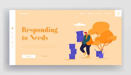 Donation Humanitarian Aid Landing Page Template. Man Volunteer Carry Box with Donating Things. Charity Organization Help Poor People in Troubles with Finance Problems. Cartoon Vector Illustration