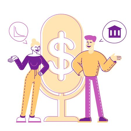 Male and Female Characters Money Talks. People Stand at Huge Microphone with Dollar Sign Communicate and Discussing Financial Deals. Business Consulting, Specialist Advice. Linear Vector Illustration Ilustração