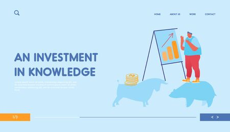 Stock Market Exchange and Trading Landing Page Template. Businessman Character Analyze Fund Market Stand at Chartboard with Growing Arrow Graph. Bulls and Bears Bonds. Cartoon Vector Illustration Illustration