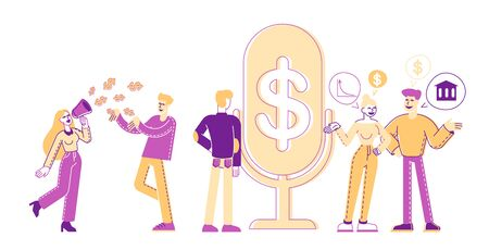 Group of People Stand near Huge Microphone with Dollar Sign Communicate and Discussing Financial Deals. Male and Female Characters Money Talks, Business Consulting, Advice. Linear Vector Illustration