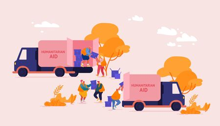 Team of Volunteers Characters in Humanitarian Aid Van Unloading Help Boxes to Refugees from Trucks Illustration