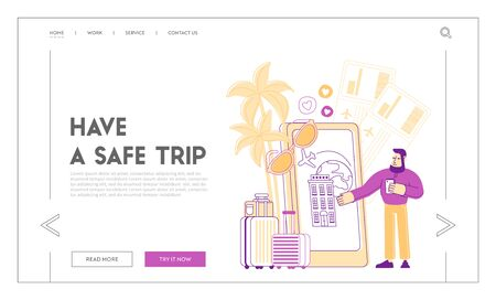 Travel Application Mobile Technologies Landing Page Template. Traveler Character Use Smartphone App to Search Route