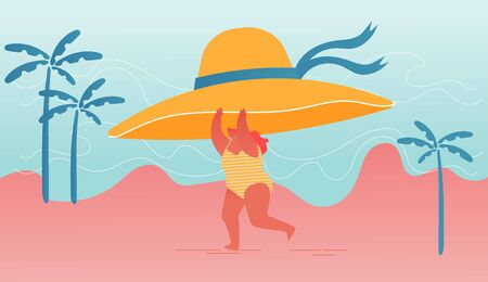 Young Happy Overweight Woman Character Holding Huge Tropical Hat in Hands Run along Summer Sandy Beach  イラスト・ベクター素材