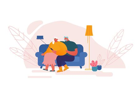 Senior People and Smart Devices Concept. Aged Couple Characters Making Selfie Sitting on Couch. Elderly Man and Woman Have Fun Together Photographing on Mobile Phone. Cartoon Vector Illustration Banque d'images - 143338724