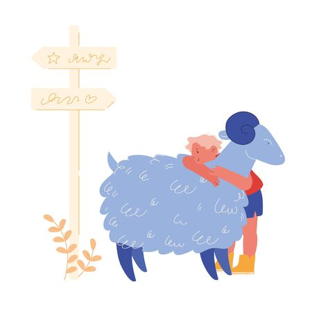 Happy Boy Character Hugging Cute Sheep in Farm Zoo. Care of Pets, Excursion to Ranch or Village Farmyard, Summer Spare Time, Family Leisure. Communication with Animals. Cartoon Vector Illustration