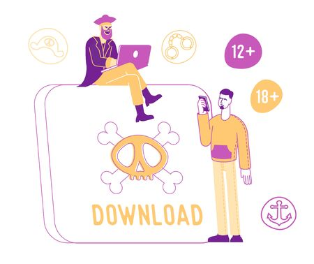 Internet Crimes and Pirate Information Stealing. User Download Censored Online Content. Male Character with Mobile Phone Stand at Huge Tablet with Skull and Bones on Screen. Linear Vector Illustration Stock Illustratie