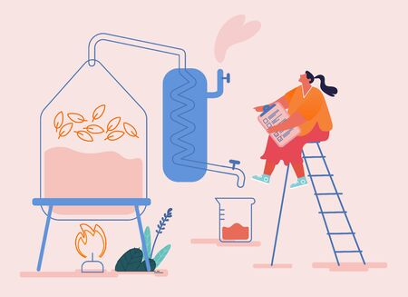 Tiny Female Character Create new Recipe Distilling Liquid in Apparatus for Essential Oil Extraction in Lab. Cosmetic Perfumery Production, Floral Toilet Water Fragrance. Cartoon Vector Illustration