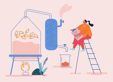 Un petit personnage féminin crée un nouveau liquide de distillation de recette dans un appareil pour l'extraction d'huiles essentielles en laboratoire. Production de Parfumerie Cosmétique, Parfum Floral d'Eau de Toilette. Illustration vectorielle de dessin animé
