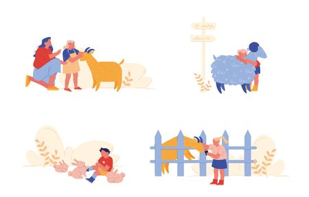 Little Kids Visit Farming Zoo with Parents. Children Characters Petting Domestic Animals Care of Sheep, Rabbits and Goat. Mother, Girl and Boy Spend Time on Weekend. Cartoon People Vector Illustration