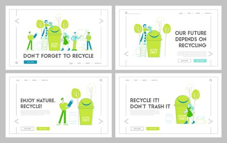 Reduce Earth Planet Pollution Landing Page Template Set. Characters Throw Out Electronic Equipment and Batteries to Huge Litter Bin. Nature Environment Protection. Linear People Vector Illustration
