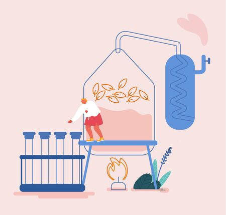 Essential Oil Making Concept. Woman Perfumer Character Put Ingredients to Distiller Equipment for Distillations Aromatic Production, Perfumery Substance for Scent Creation. Cartoon Vector Illustration