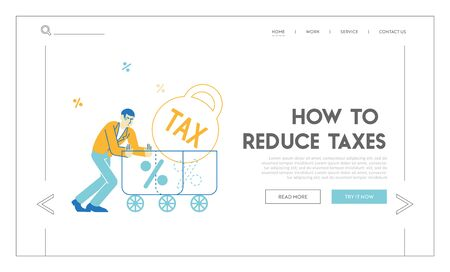 Mortgage, Tax Payment, Bank Credit Loan or Debt Landing Page Template. Businessman Push Huge Trolley with Weight and Percent Sign. Financial Crisis and Money Burden Problem. Linear Vector Illustration Иллюстрация
