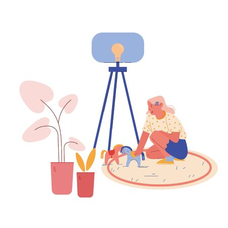 Little Girl Character with Autism Disorder Sitting on Floor Playing with Horses. Cute Child Playing with Toys in Kindergarten or School for Kids with Special Needs. Cartoon Vector Illustration Vectores