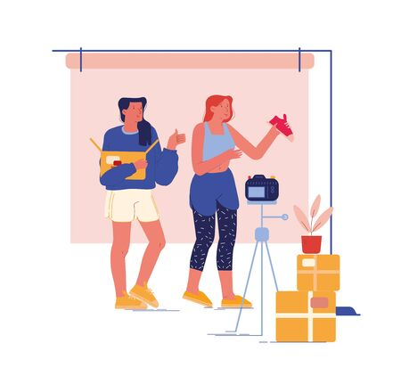 Girls Video Bloggers Characters Make Review for Internet Society Unpacking Box with Modern Shoes. Blogging Unboxing Broadcast, Expertise, Advertising Fashion Promo. Cartoon People Vector Illustration