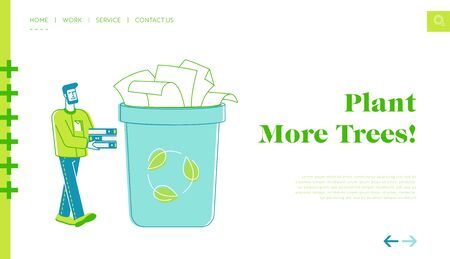 Environmental Problem, Ecology Protection, Save Paper Landing Page Template. Man Volunteer Character Carry Used Sheets Collecting Wastepaper Trash for Recycling and Reuse. Linear Vector Illustration