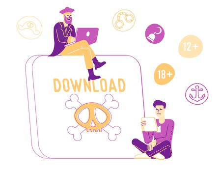 Pirate Content Free Download Concept. Characters at Huge Tablet Pc with Jolly Roger on Screen Transfer and Sharing Files Using Torrent Servers Services, Online Media. Linear People Vector Illustration Vectores