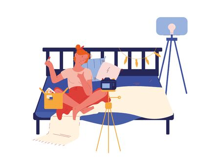 Young Girl Beauty Blogger Character Open Parcel Shooting Blog for Women Make Review for Cosmetics Product Recording Video on Camera Sitting in her Bedroom with Parcel. Cartoon Vector Illustration 写真素材 - 143432804