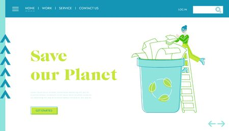 Ecology Protection, Earth Pollution Landing Page Template. Female Character Throw Paper Trash into Recycling Litter Bin Container. Woman Eco Activist, Waste Reuse Solution. Linear Vector Illustration Vettoriali