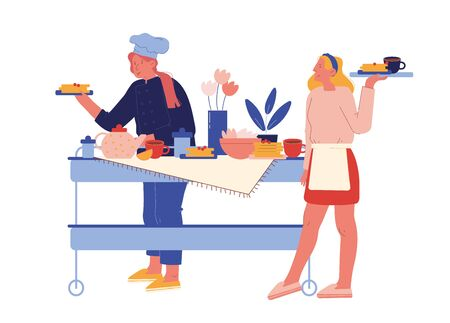 Hotel Staff Serving Breakfast. Female Characters in Uniform Stand at Table with Various Meals for Guests. Hospitality Restaurant Service, Touristic Business Concept. Cartoon People Vector Illustration 矢量图像