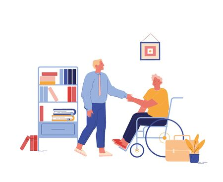 Disability Employment, Work for Disabled People. Handicapped Man Character Sit in Wheelchair Shaking Hand with Boss or Colleague in Office Introducing with New Workplace. Cartoon Vector Illustration