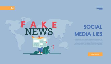 Fake News Concept for Landing Page Template. Man Character Reading Newspaper on World Map Background