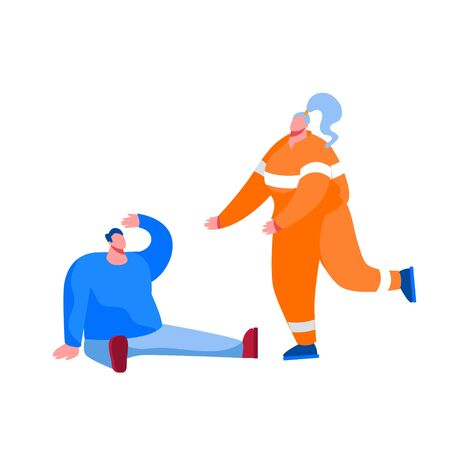 Rescuer Female Character Wearing Orange Uniform Running to Help Injured Man Sitting on Ground. Ambulance Emergency Help, Victim Salvation, First Aid to Diseased People. Cartoon Vector Illustration Vettoriali