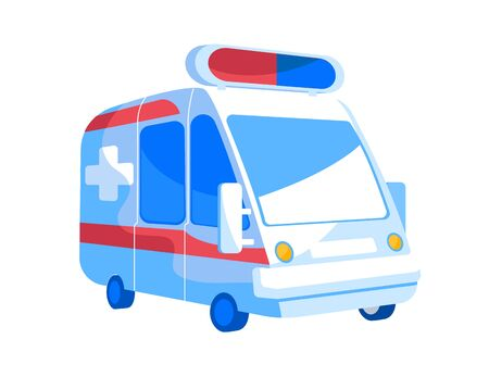 Emergency Ambulance Van with Red and Blue Signaling Siren on Roof Front View. Automobile for Injured and Diseased Patients Transportation and First Aid Assisting Medic Car. Cartoon Vector Illustration 向量圖像