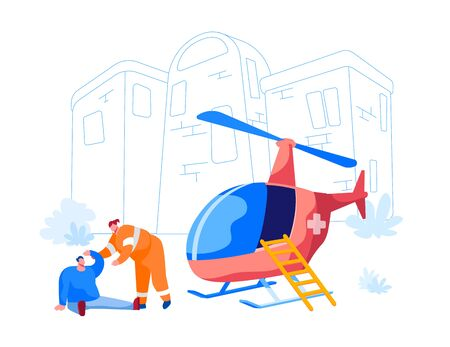 Transport for Medical Personnel Concept. Rescuer Character Help Injured Man on Street. Emergency Helicopter Ambulance Parked near First Aid Department in Hospital. Cartoon People Vector Illustration  イラスト・ベクター素材