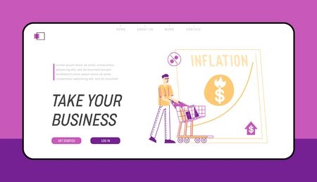 Inflation, Recession and Depreciation Landing Page Template. Depressed Man Customer Character with Shopping Trolley Look at Rising Price Arrow. Financial Crisis, Sale Drop. Linear Vector Illustration