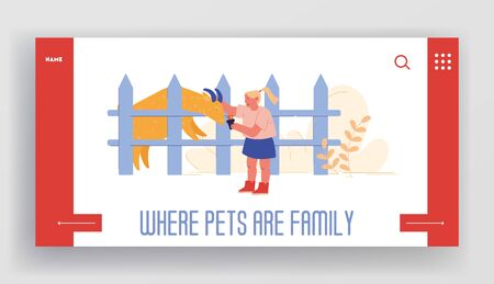Leisure, Spare Time, Summer Time Vacation Landing Page Template. Cheerful Kid Feed Goat in Cage at Farm Zoo. Child Character Spend Time in Animal Petting Park on Weekend. Cartoon Vector Illustration Vettoriali