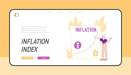 Economy Crisis, Inflation Statistics Landing Page Template. Businesswoman Loss of Income, Watch at Growing Price Arrow Diagram on Screen with Burning Fire, Investment Crash. Linear Vector Illustration