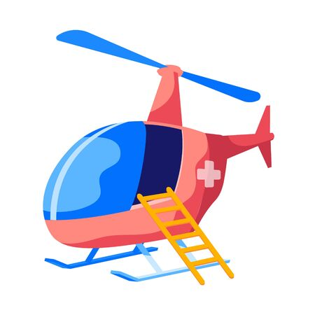 Rescue Helicopter Flying Ambulance with Cross on Red Fuselage and Ladder Isolated on White Background. Paramedic Aviation Transport, Air Vehicle for Patient Transportation. Cartoon Vector Illustration