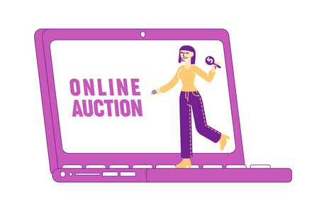 Female Character Holding Bid Plate in Hand Stand at Huge Laptop with Online Auction Inscription on Screen. Woman Buying Assets in Internet Using Online Platform, Business. Linear Vector Illustration
