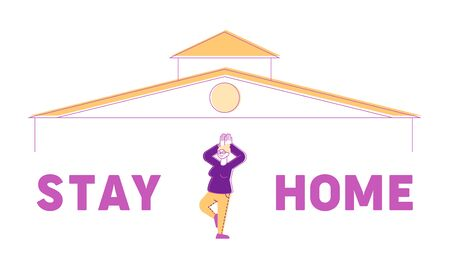 Stay Home Concept. Calm Senior Female Character Doing Yoga Exercises at Quarantine Self Isolation. Coronavirus Precaution, Contagious Prevention, Hobby Poster Banner Flyer. Linear Vector Illustration