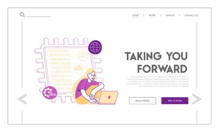 Quantum Computing Landing Page Template. Quantum-mechanical Phenomena Superposition, Entanglement to Perform Computation. Girl Character with Notebook Sit at Huge Microchip. Linear Vector Illustration